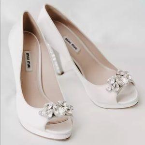ef91cf22b524 Miu Miu · Miu Miu White Satin Swarovski Crystal Wedding Shoe.  350  1300